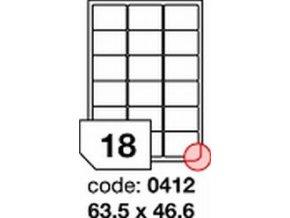 Etiketa 63.5x46.6 mm LASER LESKLÁ BÍLÁ polyesterová R0504