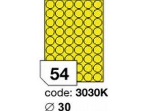 Etiketa kolečka 30 mm mm žlutá inkjet/laser/copy Office