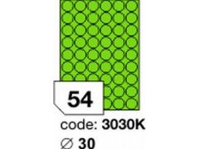 Etiketa kolečka 30 mm mm zelená FLUOrescentní laser/copy Office