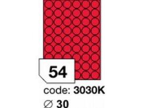Etiketa kolečka 30 mm mm červená FLUOrescentní laser/copy Office
