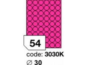 Etiketa kolečka 30 mm mm růžová FLUOrescentní laser/copy Office