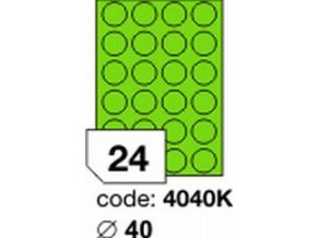 Etiketa kolečka 40 mm mm zelená FLUOrescentní laser/copy Office