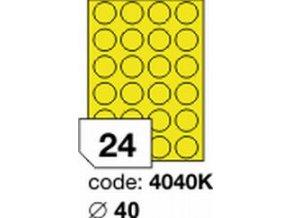 Etiketa kolečka 40 mm mm žlutá FLUOrescentní laser/copy Office