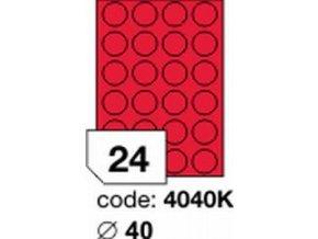 Etiketa kolečka 40 mm mm červená FLUOrescentní laser/copy Office