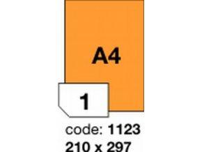 Etiketa 210x297 A4 mm oranžová FLUOrescentní laser/copy Office