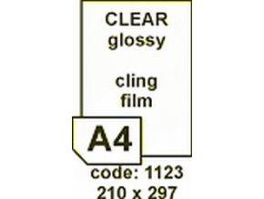 Etiketa 210x297mm A4  LASER LESKLÁ průhledná PŘILNAVÁ  polyesterová R0420