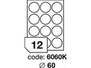 Etiketa kolečka 60 mm mm LASER LESKLÁ BÍLÁ polyesterová R0504 - 1LIST - DOPRODEJ!!