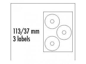 Logo etikety na CD 113/37mm, A4, matné, bílé, 3 etikety, 140g/m2, baleno po 25 ks, pro inkoustové a laserové tiskárny