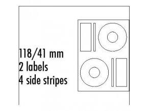 Logo etikety na CD 118/41mm, A4, matné, bílé, 2 etikety, 4 proužky, 140g/m2, baleno po 10 ks, pro inkoustové a laserové tiskárny