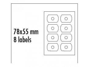 Logo etikety na CD 78mm x 55mm, A4, matné, bílé, 8 etiket, CD-R card, 140g/m2, baleno po 25 ks, pro inkoustové a laserové tiskárny