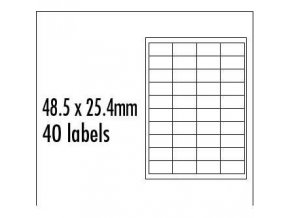 Logo etikety 48.5mm x 25.4mm, A4, matné, modré, 40 etiket, baleno po 10 ks, pro inkoustové a laserové tiskárny