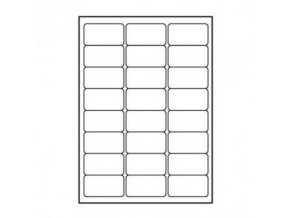 Logo etikety 68mm x 36mm, A4, matné, bílé, 24 etiket, 140g/m2, baleno po 25 ks, pro inkoustové a laserové tiskárny