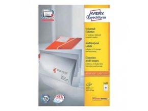 Avery Zweckform etikety 105mm x 57mm, A4, bílé, 10 etiket, baleno po 100 ks, 3425, pro inkoustové a laserové tiskárny