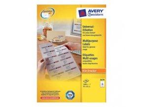 Avery Zweckform etikety 97 x 55 mm, A4, bílé, 10 etiket, baleno po 100 ks, 3679, pro inkoustové a laserové tiskárny