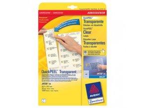 Avery Zweckform etikety 45.7mm x 21.2mm, A4, průhledné, transparentní, 48 etiket, baleno po 25 ks, J4720-25, pro inkoustové tiskár