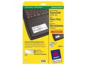 Avery Zweckform etikety 45.7mm x 21.2mm, A4, stříbrné, 48 etiket, velmi odolné, baleno po 20 ks, L6009-20, pro laserové tiskárny