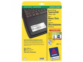 Avery Zweckform etikety 63.5mm x 29.6mm, A4, stříbrné, 27 etiket, velmi odolné, baleno po 20 ks, L6011-20, pro laserové tiskárny