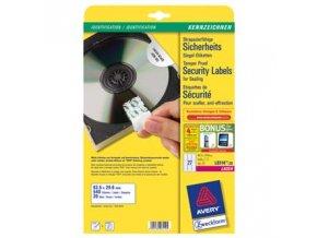 Avery Zweckform etikety 63.5mm x 29.6mm, A4, bílé, 27 etiket, bezpečnostní, odolné vůči manipulaci, baleno po 20 ks, L6114-20, pro