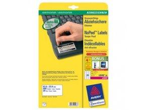 Avery Zweckform etikety 63.5mm x 33.9mm, A4, bílé, 24 etiket, permanentní, odolné vůči manipulaci, baleno po 20 ks, L6146-20, pro