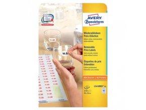 Avery Zweckform cenovky 26mm x 16mm, A4, bílé, 102 etikety, snímatelné, baleno po 25 ks, L3410REV-25, pro laserové a inkoustové ti