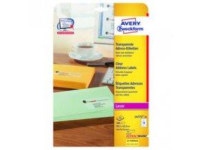 Avery Zweckform etikety 99,1mm x 42,3mm, průhledné, transparentní, 12 etiketa, baleno po 25 ks, L4772-25, pro laserové tiskárny