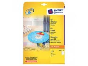 Avery Zweckform etikety na CD 117/41mm, A4, matné, bílé, 2 etikety, baleno po 25 ks, pro inkoustové a laserové tiskárny