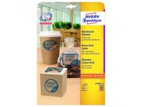 Avery Zweckform etikety 60mm, A4, přírodně hnědé, 12 etiket, baleno po 25 ks, L7106-25, pro laserové a inkoustové tiskárny