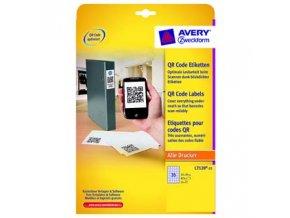 Avery Zweckform etikety 35mm x 35mm, A4, bílé, 35 etiket, pro umístění QR kódů, baleno po 25 ks, L7120-25, pro laserové a inkousto