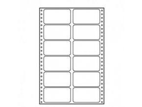 Logo tabelační etikety 89mm x 48.8mm, A4, dvouřadé, bílé, 12 etiket, baleno po 10 ks, pro jehličkové tiskárny