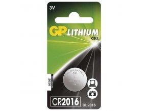 Baterie lithiová, knoflíková, CR2016, 3V, GP, blistr, 1-pack