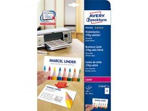 Avery Zweckform vizitky, s hladkým okrajem, 10ks/A4 typ matné, bílé, A4, 270 g/m2, 85x54mm, 25 listů, pro inkoustové a laserové ti