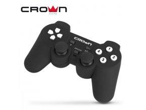 Gamepad Crown herní ovladač, černý, 12 tlačítkový, vibrační