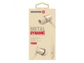 SWISSTEN YS500, sluchátka s mikrofonem, bez ovládání hlasitosti, zlatá, špuntová typ 3.5 mm jack