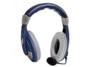 Defender Gryphon 750, sluchátka s mikrofonem, ovládání hlasitosti, modrá, uzavřená, 2x 3.5 mm jack