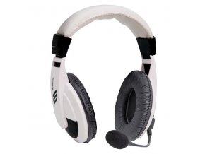 Defender Gryphon 750, sluchátka s mikrofonem, ovládání hlasitosti, bílá, uzavřená, 2x 3.5 mm jack