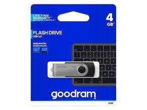 Goodram USB flash disk, USB 2.0, 4GB, UTS2, černý, UTS2-0040K0R11, USB A, s otočnou krytkou