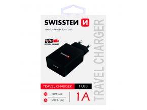 SWISSTEN, Síťový adaptér, 100-240V, 5V, 1000mA, nabíjení mobilních telefonů aj., černý