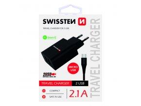 SWISSTEN, Síťový adaptér, s microUSB kabelem, 100-240V, 5V, 2100mA, nabíjení mobilních telefonů aj., černý