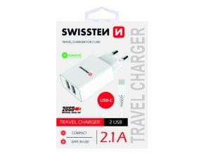 SWISSTEN, Síťový adaptér, s USB-C kabelem, 100-240V, 5V, 2100mA, nabíjení mobilních telefonů aj., bílý