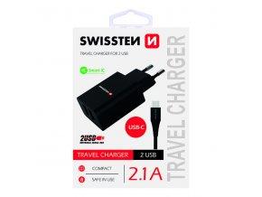 SWISSTEN, Síťový adaptér, s USB-C kabelem, 100-240V, 5V, 2100mA, nabíjení mobilních telefonů aj., černý