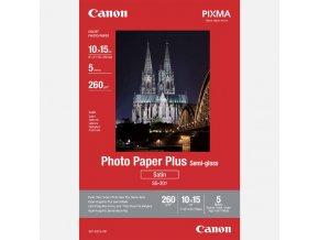 "Canon Photo Paper Plus Semi-Glossy, foto papír, pololesklý, saténový, bílý, 10x15cm, 4x6"", 260 g/m2, 5 ks, 1686B072, inkoustový"