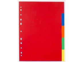 Rozřaďovač A4 5 listů barevný plastový