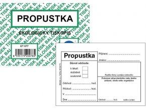 Tiskopis Propustka A7 BAL EKO  ET077