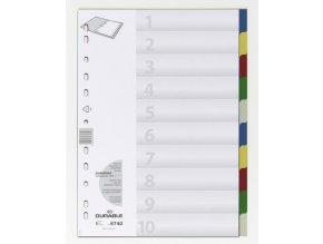 Rozřaďovač A4 2x5 listů barevný plast Durable 6740