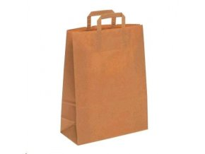 Taška papírová 26+15x35cm  ploché ucho 1ks EKO hnědá přírodní