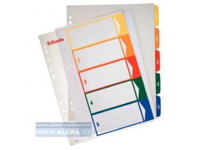 VÝPRODEJ - Rozřaďovač A4+ 1- 5 listů plastový barevný Esselte 100211