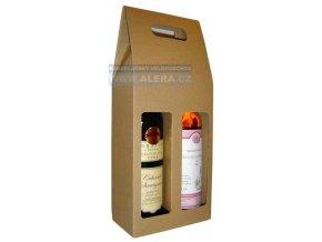 Dárková taška 16x33+8cm na 2 láhve 1ks lepenka hnědá