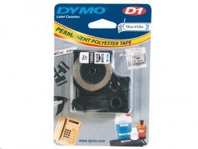 Dymo páska D1 el. 12x5,5m bílá permanentní polyester S0718060