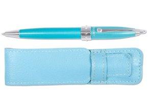 Pero kuličkové LADY PEN + 8 krystalů Swarovski - modrá