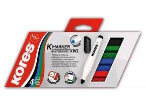 Popisovač bílá tabule Kores K-marker 3mm /4ks sada barev